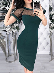 Round Neck  Patchwork  Hollow Out Plain Bodycon Dress