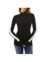 Color Block Fashion Long Sleeve Knitting Fitting Sweaters
