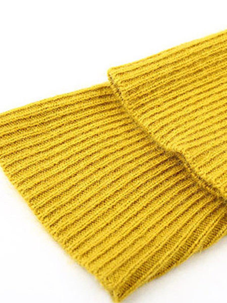 High Neck Plain Knitted Shift Dresses