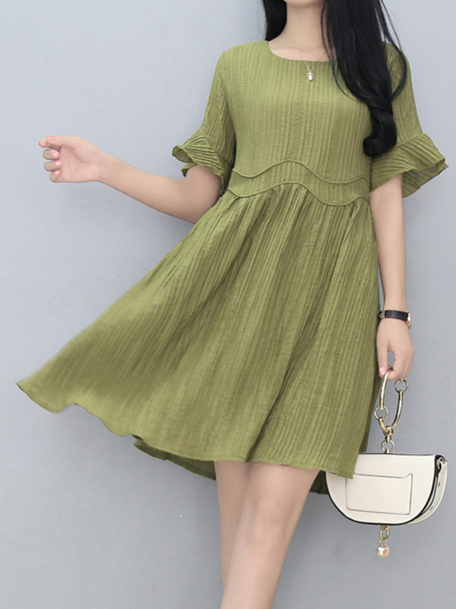Solid Round Neck Bell Sleeve Skater Dress