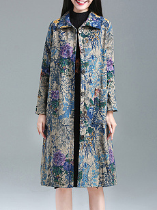 Fold Over Collar  Single Breasted  Floral Printed Coat