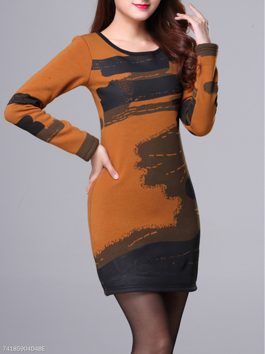 Round Neck  Bust Darts  Abstract Print  Ink Jet Pattern Bodycon Dress