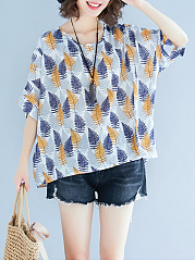 Spring Summer  Cotton  Women  Round Neck  Printed  Batwing Sleeve  Half Sleeve Blouses