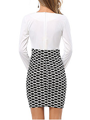 Women's Argyle Patterns OL Formal Stretch Bodycon Dress