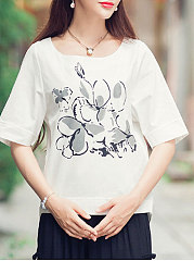 Spring Summer  Linen  Women  Round Neck  Floral Printed Short Sleeve T-Shirts