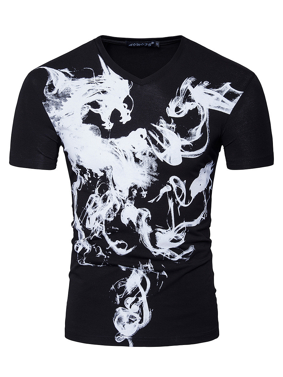 V-Neck  Abstract Print Men T-Shirt