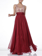 Round Neck  Colouring Embroidery Evening Dress