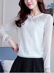 Round Neck Patchwork Hollow Out Plain Blouse