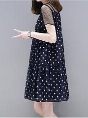 Round Neck Star Printed Hollow Out Skater Dress