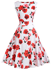 Exquisite Round Neck  Floral Printed Skater Dress