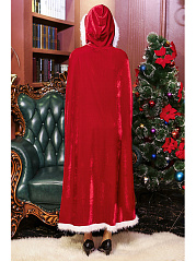 Christmas Hooded Contrast Trim Long Cape