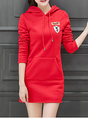 Hooded Drawstring Kangaroo Pocket Mini Bodycon Dress