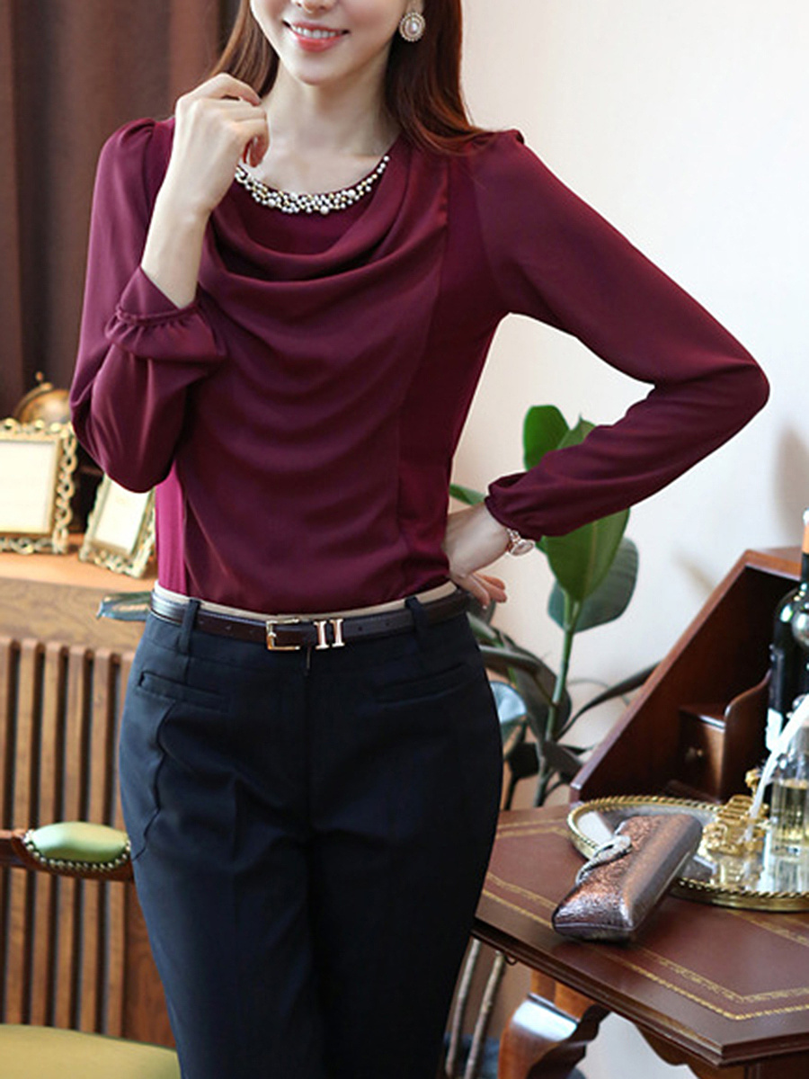 Beading Plain Ruched Long Sleeve T-Shirt