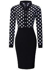 Vintage Split Neck Polka Dot Bodycon Dress