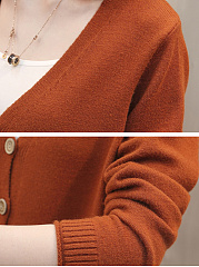 Patch Pocket Single Breasted  Plain Cardigans