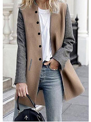 Band Collar  Colouring  Long Sleeve Coats