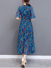 Tie Collar  Printed  Chiffon Bell Sleeve Maxi Dress
