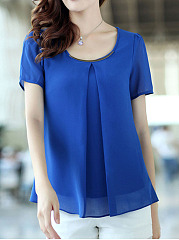 Round Neck  Plain  Puff Sleeve Blouse