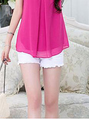 Summer  Chiffon  Women  Round Neck  Asymmetric Hem  Decorative Hardware  Plain  Puff Sleeve  Short Sleeve Blouses
