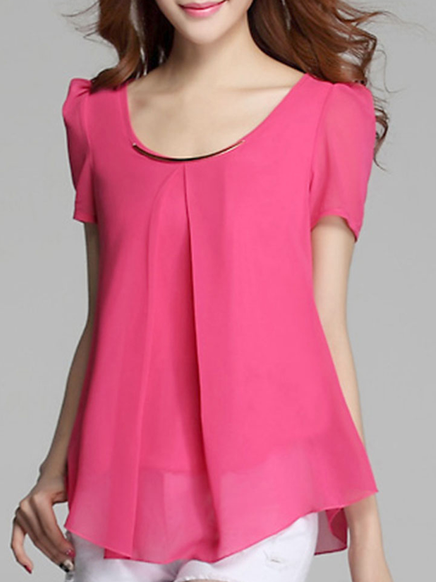 Summer  Chiffon  Women  Round Neck  Asymmetric Hem  Decorative Hardware  Plain  Puff Sleeve  Short Sleeve Blouses