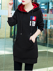 Autumn Spring  Cotton Blend  Hooded  Plain  Long Sleeve Hoodies