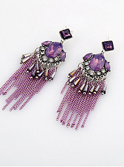 Luxury Glass Fringe Long Earrings