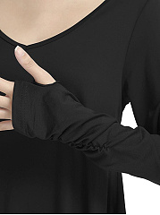 V-Neck Asymmetric Hem Plain Long Sleeve T-Shirt