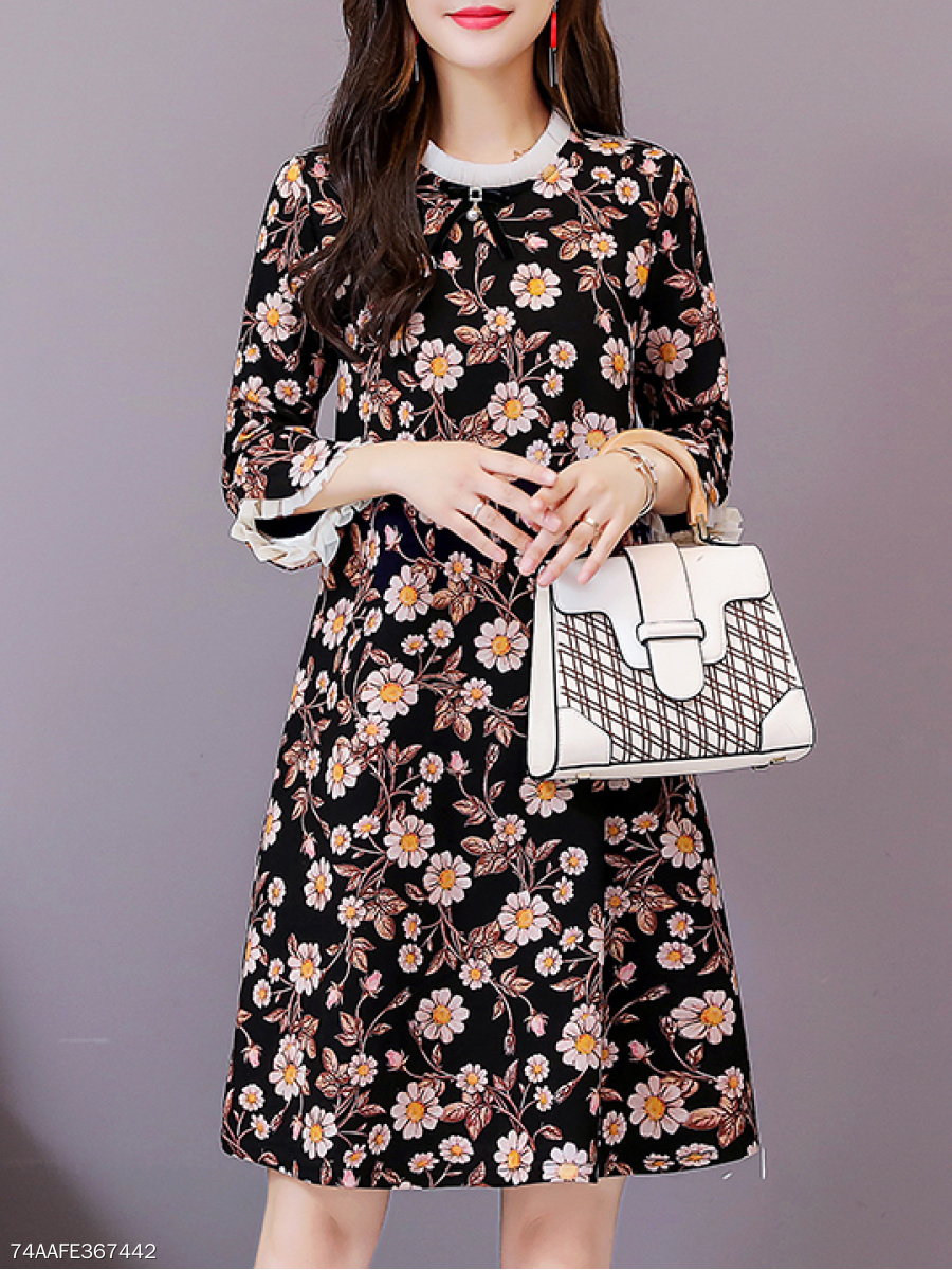 Round Neck  Frayed Trim  Floral Printed Skater Dress
