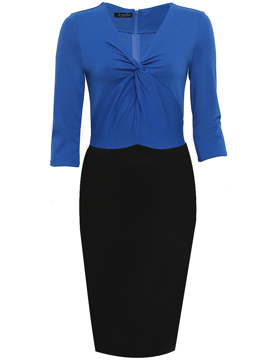 V-Neck Color Block Ruched Bodycon Dress