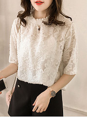 Summer  Chiffon  Women  Round Neck  Floral  Half Sleeve Blouses