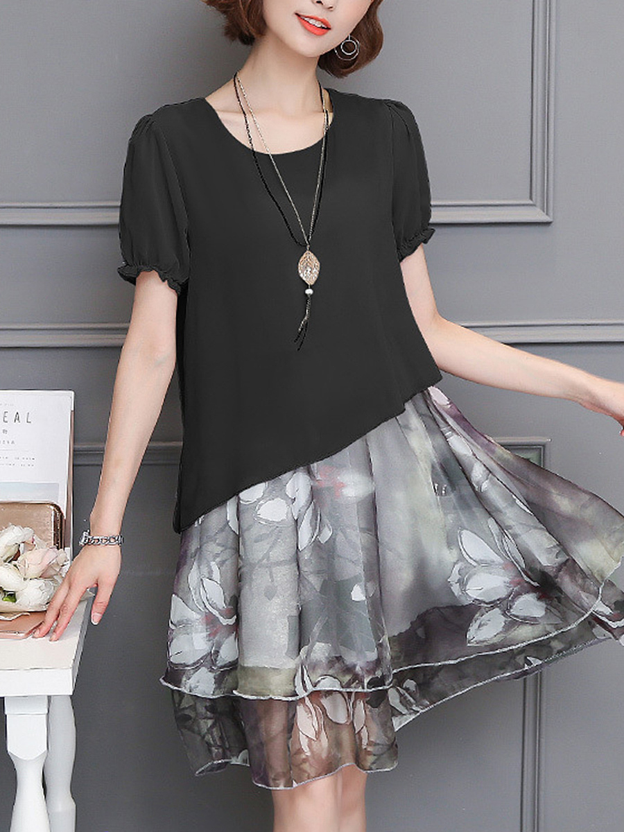 Round Neck Floral Hollow Out Chiffon Skater Dress