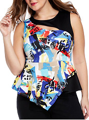Graffiti Cutout Peplum Asymmetric Hem Plus Size T-Shirt