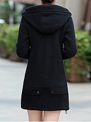 Hooded Slit Pocket Plain Fleece Lined Coat