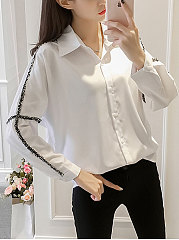 Turn Down Collar  Patchwork  Plain  Long Sleeve Blouses