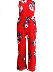 Off Shoulder  Zips  Floral Printed  Sexy Bootcut Jumpsuit