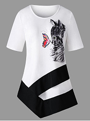 Spring Summer  Cotton Blend  Women  Round Neck  Animal Printed Short Sleeve T-Shirts