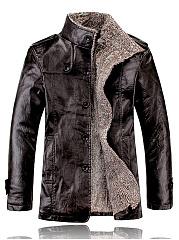 High-Neck-Fleece-Lined-Men-PU-Leather-Coat
