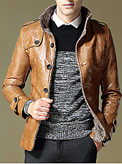 High Neck Fleece Lined Men PU Leather Coat
