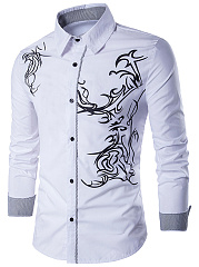 Turn Down Collar  Printed  Cuffed Sleeve  Long Sleeve Long Sleeves