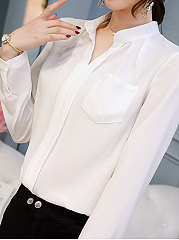 Spring Summer  Polyester  Women  V-Neck  Patch Pocket  Plain  Long Sleeve Blouses