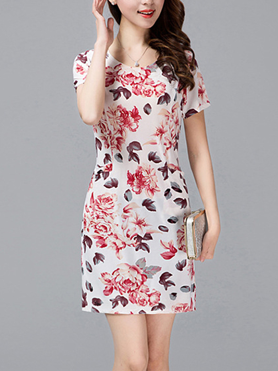 Floral Printed Round Neck Bodycon Dress