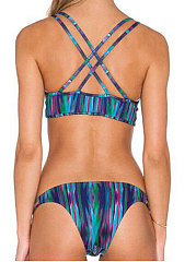 Backless  Abstract Print Bohemian  Mid-Rise Bikini For Women