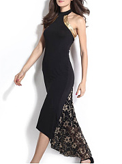 Halter  Patchwork  Lace Evening Dress