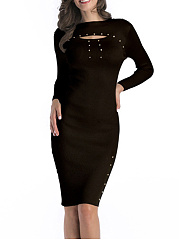 Crew Neck Solid Cutout Rivet Knitted Bodycon Dress