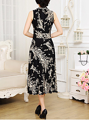 V-Neck Printed Swing Sleeveless Maxi Dress