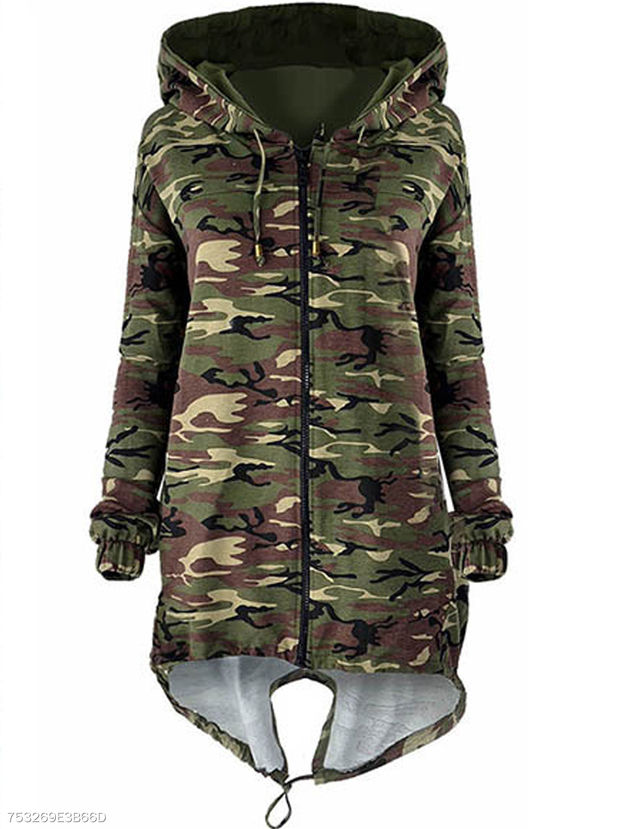 Hooded  Zips  Camouflage  Long Sleeve Jackets