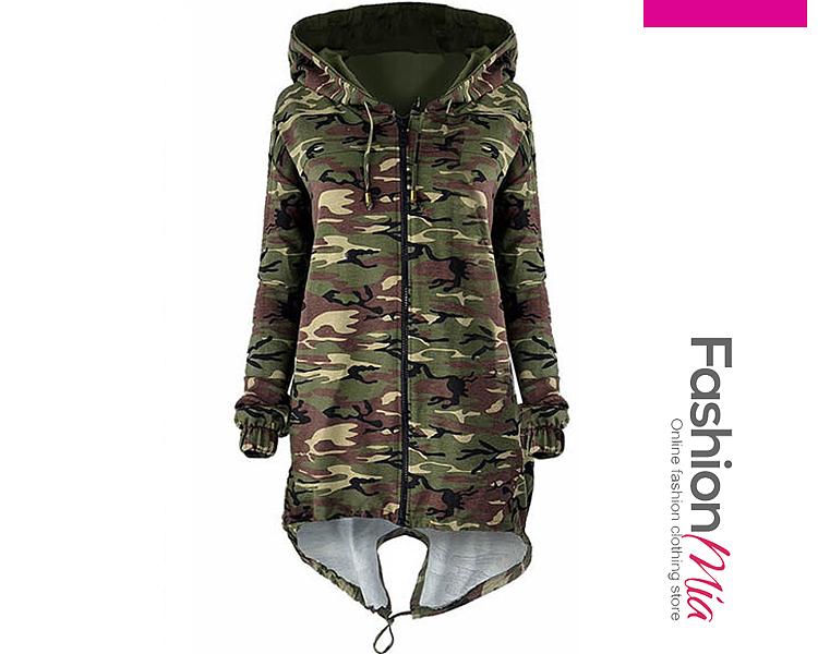 Hooded  Zips  Camouflage  Long Sleeve Jackets