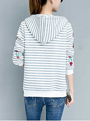 Striped Embroidery Patch Pocket Hoodie