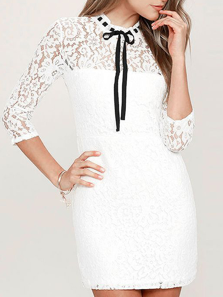Tie Collar  Lace  Lace Bodycon Dress