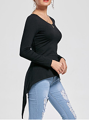 Lace-Up Asymmetric Hem Round Neck Blouse